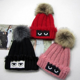 Wholesale Wholesale Cuffed Beanies - Eye Print Warm Women's Knit Ski Beanie Ball Wool Cuff Hat Ski Cap Free Shipping