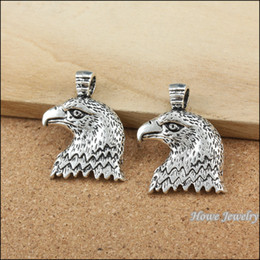 Wholesale Vintage Eagle - Vintage Charms Eagle head alloy Metal Pendant Antique Plated Silver Fits Bracelets Necklace DIY Jewelry accessories 35 pcs lot 34*25mm