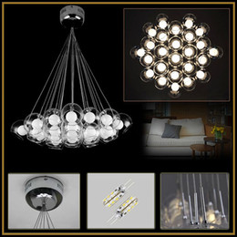 Wholesale Clear Glass Ball Pendant Lights - LED Clear Glass Pendant Lights Lamp Bubbles Ball Double Glass Ball Chandeliers Ceiling Lighting AC110-240V Dining Room Living Room Hotel