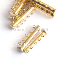 Wholesale Magnetic Clasps Bulk - Bulk 100pcs Gold plated 5 Loops Magnetic Toggle Slide Clasps