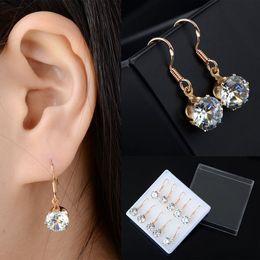 Wholesale Cheap Fashion Earrings Free Shipping - 20Pair lot Chic Fashion Golden Ear Hook Round Crystal Zircon Drop Dangle Earrings Women Jewelry Wholesale Cheap Drop Free Ship