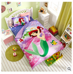 Wholesale Bedding Textile - Princess the Little Mermaid Bedding Sets for Girls,100% Cotton Twin Full Queen King Size Children Textiles Duvet Cover Bed Sheet TOP746