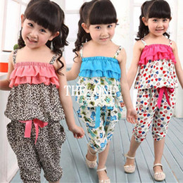 Wholesale Girls Leopard Pants - 2015 new arrival kids clothing sets summer suspender pants girls cotton suits summer leopard summer shirt pants 2pcs Floral cotton suits