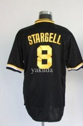 Wholesale Mens Black Mesh Shirt - Popular 8 STARGELL BLACK Baseball Jerseys shirts tops,Discount Cheap 30 RAINES 1 AHBURN throwback Wear,TOP mens Mesh Batting Practice Jersey