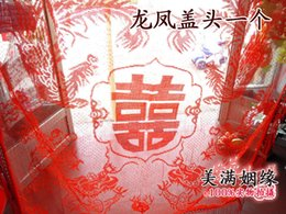 Wholesale Applique Handkerchief - red bridal veil, Hi handkerchief, hooded towel, tassel cap, Chinese wedding articles