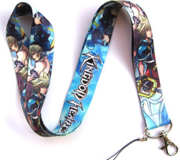 Wholesale Neck Strap Key Holder - Free shipping 10pcs KINGDOM HEARTS neck Lanyard Cell Phone PDA Key ID Holder long strap F