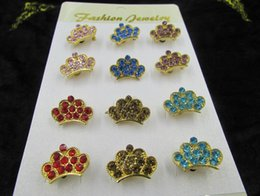 Wholesale Costume Crown Jewelry - Free Shipping Cheap Costume Jewelry Rhinestone Crown Brooch Wholesale King Crystal Brooch Pins for Women 12pcs set