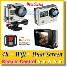 Wholesale Dual Action - Original EKEN H3R 4K Action Camera + Wifi + 2.4G Remote Control Dual Screen Hero 4 Style 30M Waterproof Sport DV DVR Camcorder