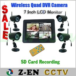 """Wholesale Security Camera Sd Card Wireless - Free Shipping! 7"""" TFT LCD Monitor SD Card Recorder CCTV Digital Wireless 4CH CAMERA DVR Security System"""