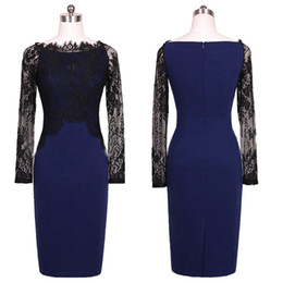 Wholesale Pencil Skirts Dresses Office - S5Q Womens OL Office Pencil Slim Work Dress Lady Sexy Fitted Patchwork Straight Prom Skirt AAAEDD
