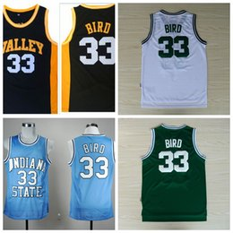 Wholesale High School Babies - 33 Larry Bird Jerseys New Valley Baby Blue Stitched Shirts Indiana State Sycamores Larry Bird College Basketball Jerseys High School