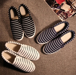 Wholesale Hand Painted Slip Sneakers - women girl Flat Slip On Casual Shoe Sneaker DIY Hand Painted Stripe Canvas Shoes