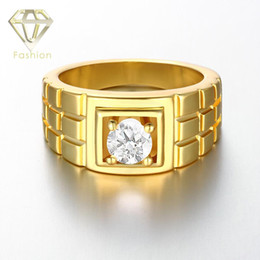 Wholesale Roses Plaid - 24K Rose White Gold Plated Rings for Men Top Quality Plaid Surface Lattice Cutting Gold Plated Jewelry All-Match Crystal Rings