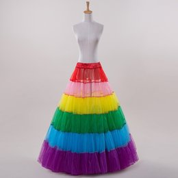 Wholesale Rainbow Stock - 2016 New Arrival A Line Rainbow Pleat Sexy Petticoat For Halloween Wedding Slip Adjustable Waist In stock