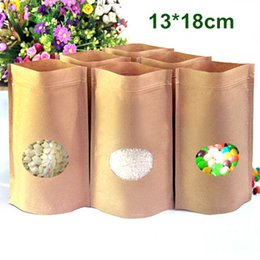 Wholesale Kraft Paper Zipper Top Bags - Wholesale 300Pcs Lot 13x18cm Kraft Paper Stand Up Pouch Doypack Zipper Top Zip Lock Package Food Storage Packing Bag With Oval Clear Window
