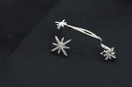 Wholesale Ear Cuff Antique Earrings Silver - New Punk Gothic Antique Silver Snowflake Charm Rhinestone Ear Clip Earrings Cuffs For Women Girls Wrap Earrings QW