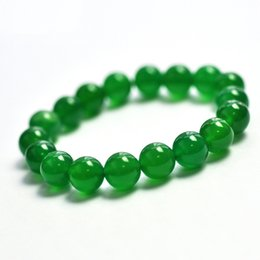 Wholesale Green Sand Stone - Wholesale-10MM natural stone semi-precious gemstone green agate beads bracelet green agate,gold blue sand for men women