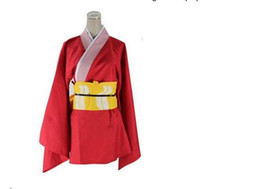 Wholesale Gintama Cosplay - Famous Japanese Anime Costume Cosplay Gintama Kagura Red Costume chinese style dress for Women Free Shipping