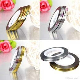 Wholesale Gold Nail Tape - 10pcs Nail Art Tips Rolls Striping Tape Line Stickers Manicure Accessories Beauty Tools Gold Silver To Choose
