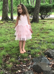 Wholesale Feather Tutu Flower Girl - Everweekend Sweet Kids Girls Summer Lace Embroidered Flowers Princess Dress Holiday Party Layered Tutu Cake Dress