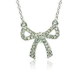 Wholesale Rhinestone Bowknot Necklace - Lover Fashion Pendant Necklace White Rhinestone Bowknot Silver Plated Necklace For Women Romantic Jewelry Valentines Gifts
