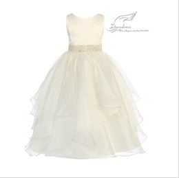 Wholesale Cute Feather Vest - 2015 A-Line Cute Scoop Sequined Crepe Floor-Length Flower Girl Dresses Tank Each Color Can Choose Girl Bridal Party Gown