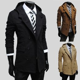Wholesale Casual Pea Coats For Men - Fall-2015 fashion casual Men stylish pea coats Brand winter jacket for man double breast mens trench coat tactical parka outwear