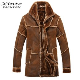 Wholesale Mens Leather Parka Coats - Wholesale- European Style Male Fashion Thick Warm Outwear Winter Mens Faux Fur Coat Spliced Suede Leather Jacket Parkas Fast Shipping