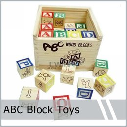 Wholesale Toy Blocks Letters - 48PCS Alphabet Letter Educational Wooden ABC Blocks For Kids Childs Educational Game Puzzle Toy Learn Read Spell