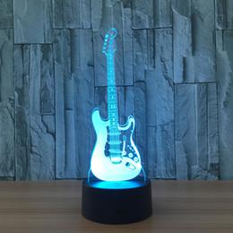 guitarra electrica led de iluminacion Rebajas Guitarra creativo 3D Electric Light Modelo de la guitarra de la lámpara de la ilusión 3D LED de 7 colores luz de la noche Cambio USB