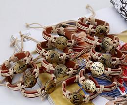 Großhandel sternzeichen armbänder online-neues Erzeugnis wholesale freies Verschiffen Lederschmucksachearmband alte Bronze 12 Sternzeichenarmbänder Horoskop für Männer und Frauen