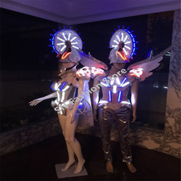 Wholesale Wholesale Singer Stage Wear - AS96-2 Colorful LED light ballroom costumes Singer Cosplay dresses cloth dance  Bar armor party stage sexy catwalk show wears