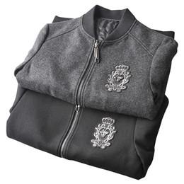 Wholesale Tweed Wool Coat Mens - 2017 winter new designer men wool blend baseball collar woolen jackets coats~men thick warm polyester filler tweed jacket~mens bomber jacket