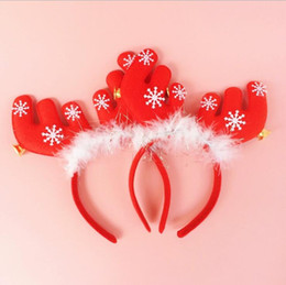 Wholesale Christmas Antlers Head Band - Christmas antlers ears with bells head hoop clasp hair band head band students Christmas gift hair hoop decorations gifts chrismas CH01003
