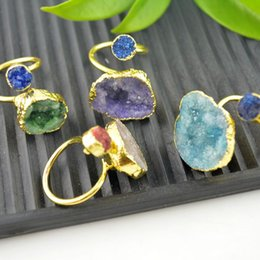 Wholesale Kt Gold Wholesale - 5Pcs Natural Druzy Drusy Stone Adjusted Rings 24 kt. Gold Plated Edge Jewelry Finding