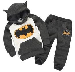 Wholesale Batman Sweatshirt Boys - New Arrive Spring Autumn Gilrs boys Batman Sweater Pants sports suit tracksuits coats children kids Jackets sweatshirt trousers 2 pieces set
