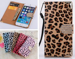 Wholesale Iphone Sex - Fashion Bling Diamond Buckle Sex Leopard Wallet Flip PU Leather Bag Case With Credit Card Slots For iPhone 4 4S 5 5S 6 6G 4.7 Plus 5.5