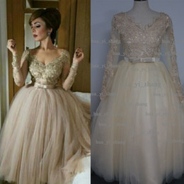 Wholesale tea length evening gown tulle - Real Image 2015 Prom Dresses V-Neck Lace Appliques Beading Sequins Sheer Long Sleeve Ball Gown Tulle Champagne Evening Dress Dhyz 01