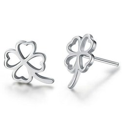 Wholesale Gold Clover Earrings - New Jewelry Four Clover Leaf Stud Earrings 925 Sterling silver Earrings for Wedding Party Silver Rose Gold color Free Shipping