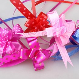 Wholesale Bow Pack - Wholesale-100pcs Pull String Bows Instant Bow Ribbon Gift Wrap Packing Flower Wedding Birthday Party Decor Assorted Colors