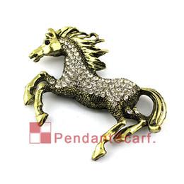 Wholesale Elegant Horse - Antique Bronze Rhinestone Elegant Flying Horse Jewelry Scarf Pendant DIY Necklace Pendant Scarf Charm Accessories, Free Shipping, AC0309