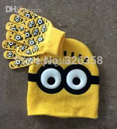 Wholesale Minions Beanies - Wholesale-10 Sets Lot Baby Boys Spiderman Hat With Gloves Set Kids Cute Minions Gloves Set Children Despicable Me Beanies,2-8Y