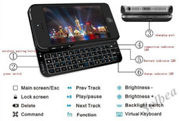 Wholesale Bluetooth Slide Out Keyboard - Wholesale-1pc Ultra Thin Slide-out Bluetooth V3.0 Wireless Keyboard Protective Back Case with Backlight for iPhone 5 5th 5G Free Shipping