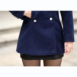 Wholesale Korean Winter Fashion Women Xl - Wholesale-High Quality Wool Coat Women 2016 Korean Fashion Autumn Winter Coat Women Solid Double Breasted Coat Casual Manteau Femme