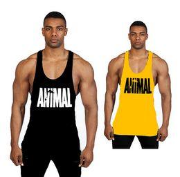 Mann tank t-shirts online-Männer Gym Stringer Tank Top Bodybuilding Fitness Baumwolle Ärmelloses T-shirt Weste Männer Gym Tank Tops Sportkleidung