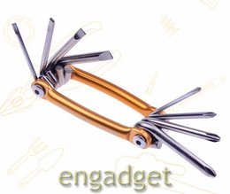 Wholesale Moutain Bicycles - 8 in 1 Multifunction Moutain Bicycle Bike Tyre Repair Tool Set Kit Including Screwdriver Hex Spoke Wrench Gold Blue 00688