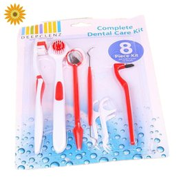 Wholesale Tooth Floss Tool - Wholesale-New 8 IN 1 Dental Care Kits Tooth Cleaning Tools Floss Stain Tongue Picks Teeth Denticlean 8 IN 1 Dental Care Kits Dental Care