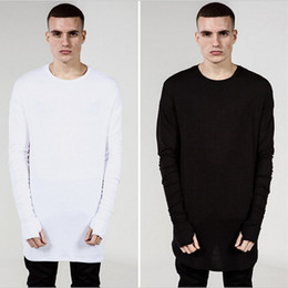 Wholesale Men S Tall - Wholesale- Fashion Mens Extended Tee Long Sleeve Oversized Hip Hop Black White Grey Wool Tshirt Plus Size For Men Big and Tall