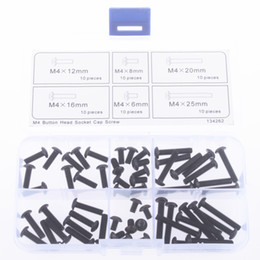 Wholesale nuts size - M4 Button Head Socket Cap Screw Qty 60pcs Assortment Kit M4*6 to M4*25mm 6 size