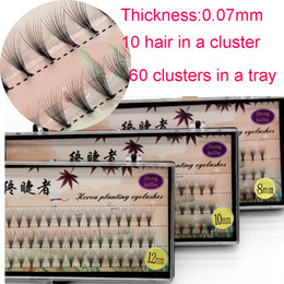 Wholesale Eyelash Extensions Flares - 0.07mm 10 strands cluster Flare Eyelash Extension Silk Extension Kit 8mm 10mm 12mm